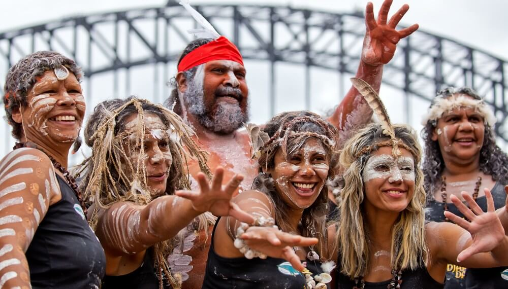 Enjoy the guided tour - Indigenous dancers strike a pose during the Homeground festival